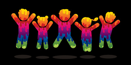 Group of children jumping graphic vector. Illustration