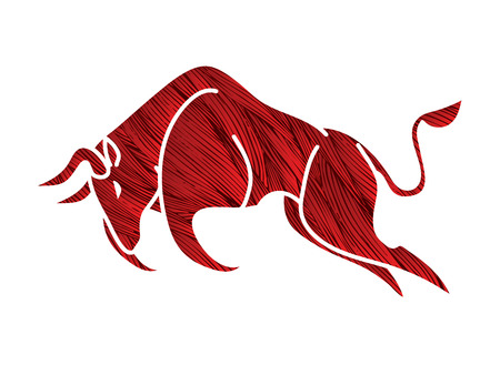 Bull charging, Bull attack graphic vector