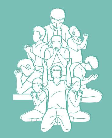 Grupo de oración, cristiano rezando juntos vector gráfico de dibujos animados