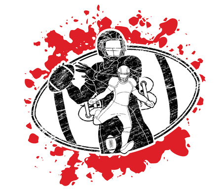 American football player, Sportsman action, sport concept graphic vector. Illustration