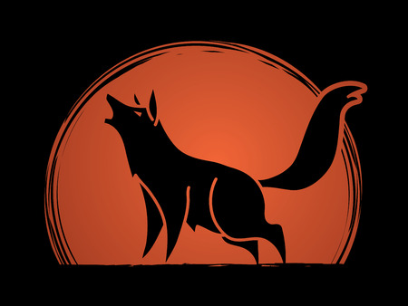 Wolf howling graphic vector.