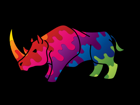 Angry Rhino ready to fight cartoon graphic vector.
