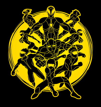 Group of Super Heroes action, Unity together team work graphic vector Illustration