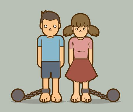 Stop Child abuse ,Children with chain and ball cartoon graphic vector.