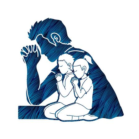 Little boy and girl prayer, Praise to the Lord , Double exposure graphic vector