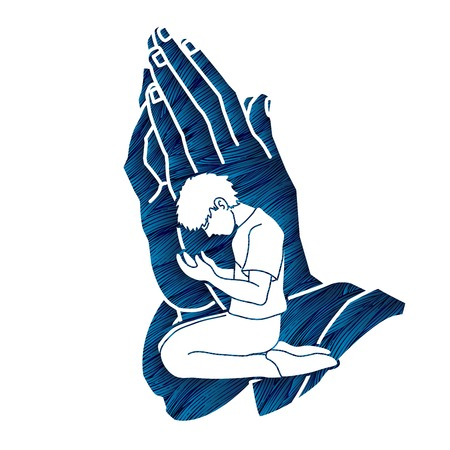 Man prayer, Praise to the Lord , Double exposure graphic vector