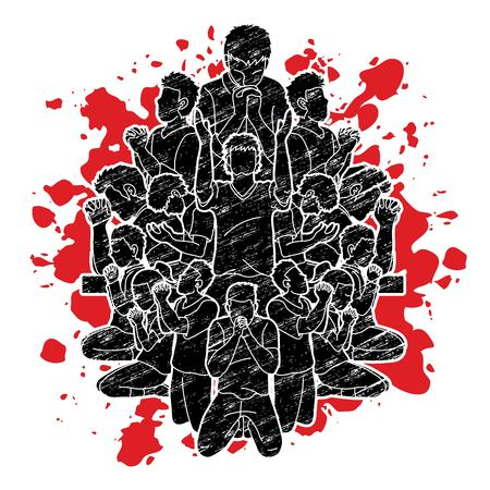 Group of people prayer, Praise to the Lord , Double exposure graphic vector