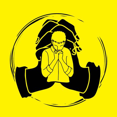 Man prayer, Praise to the Lord , Double exposure graphic vector Illustration