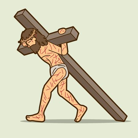 Jesus Christ carrying cross cartoon graphic vector