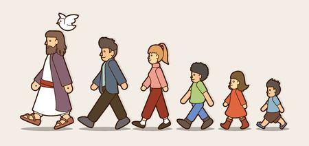 Marchez avec Jésus, suivez le vecteur graphique de dessin animé de Jésus.