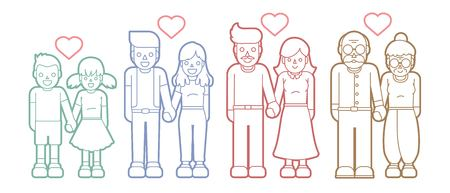 Family love, People holding hands,Couple Love Valentine cartoon graphic vector. Illustration