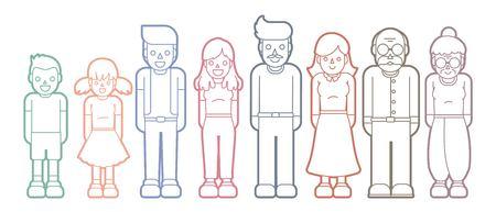 Vecteur graphique d'icône de dessin animé familial