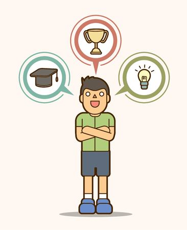 Rêve d'ambition d'enfant, vecteur graphique de signe d'éducation