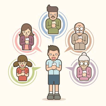 Little boy chat online with his family by smart phone cartoon graphic vector