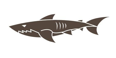 Shark swim cartoon graphic vector.