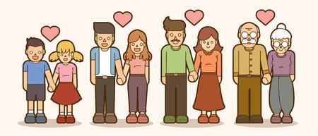 Family love, People holding hands,Couple Love Valentine cartoon graphic vector. 矢量图像