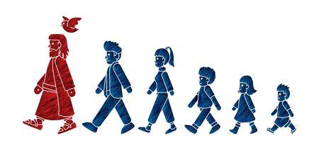 Camina con Jesús, sigue el vector gráfico de dibujos animados de Jesús. Ilustración de vector