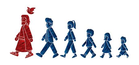 Walk with Jesus, Follow Jesus cartoon graphic vector.