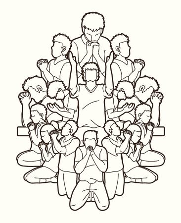 Un groupe de personnes prie Dieu, Prière, Louange au Seigneur, Vecteur graphique de dessin animé à double exposition