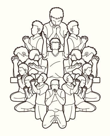 Un gruppo di persone prega Dio, preghiera, lode al Signore, grafica vettoriale a doppia esposizione