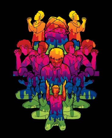Group of people pray to God , Prayer, Praise to the Lord , Double exposure cartoon graphic vector