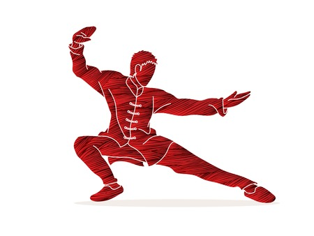 Man Kung Fu pose ready to fight graphic vector. 向量圖像