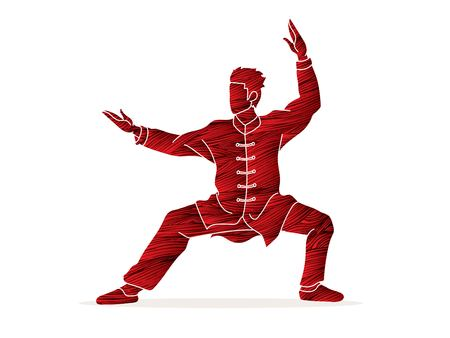 Man Kung Fu pose ready to fight graphic vector. Illustration