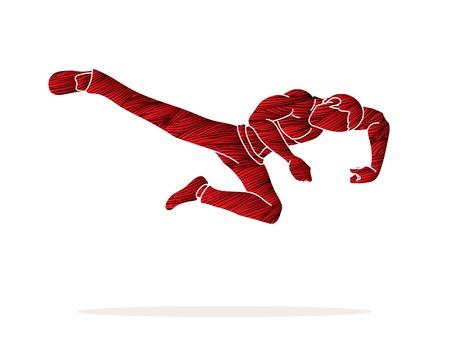 Kung fu action jump kick graphic vector. Illustration