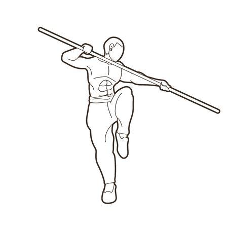 Man with quarterstaff action, Kung Fu pose graphic vector. Vektorové ilustrace