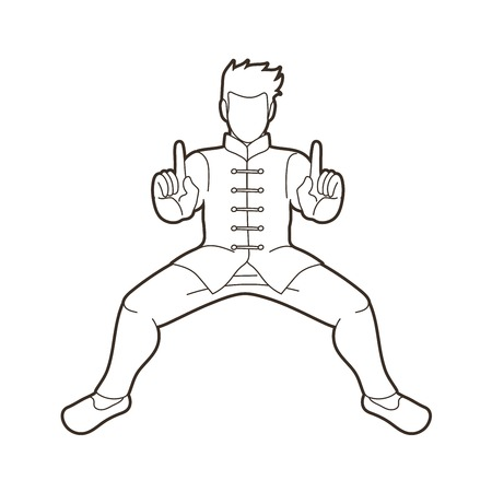 Man Kung Fu action ready to fight graphic vector 向量圖像