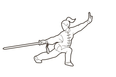 Woman with sword action, Kung Fu pose graphic vector. Illustration