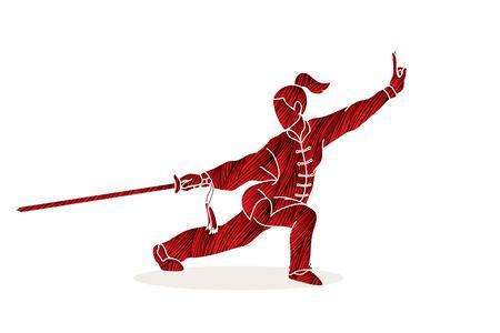 Mujer con acción de espada, vector gráfico de pose de Kung Fu.
