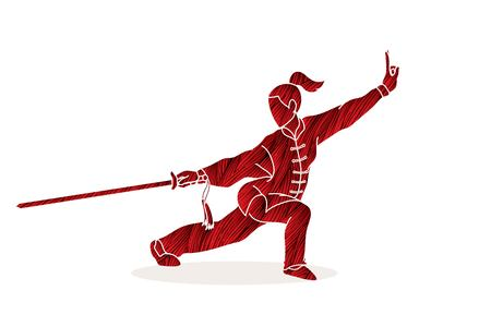 Woman with sword action, Kung Fu pose graphic vector. Çizim