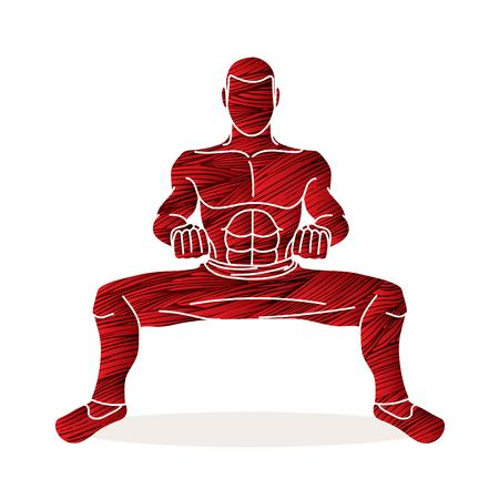 Man Kung Fu action ready to fight graphic vector Illustration