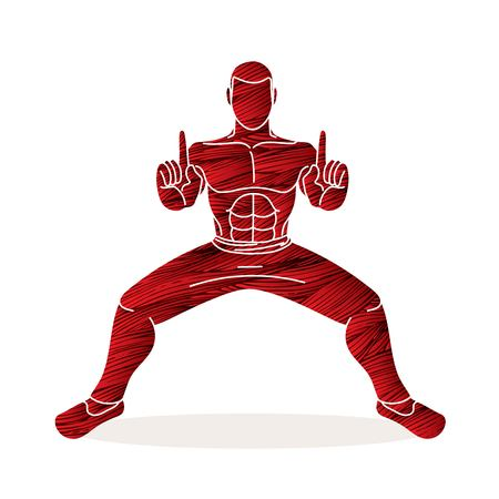 Man Kung Fu action ready to fight graphic vector Иллюстрация