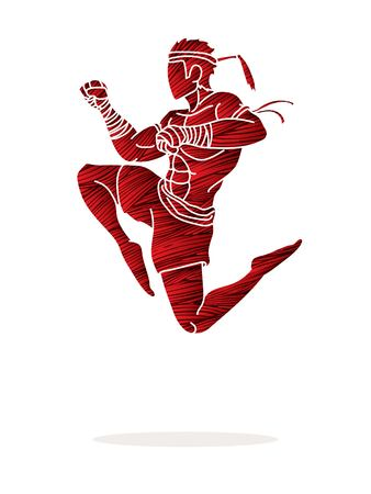Muay Thai fighting , Thai boxing jumping to attack cartoon graphic vector