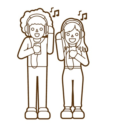 Man and woman listening song together Friendship graphic vector