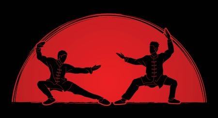 Men pose ready to fight Kung Fu action cartoon graphic vector. Illustration