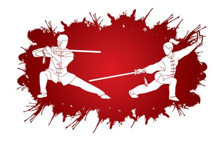 Man and woman pose with swords ready to fight Kung Fu cartoon graphic vector.