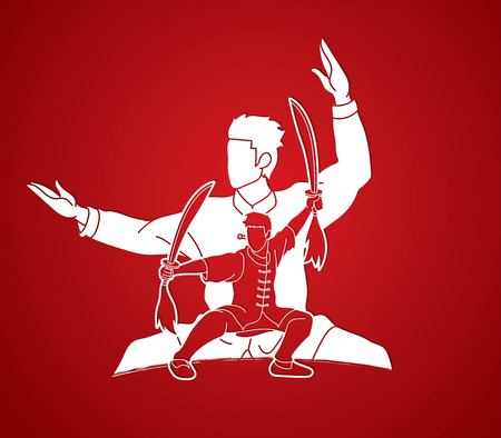 Kung Fu, Wushu with swords pose graphic vector.