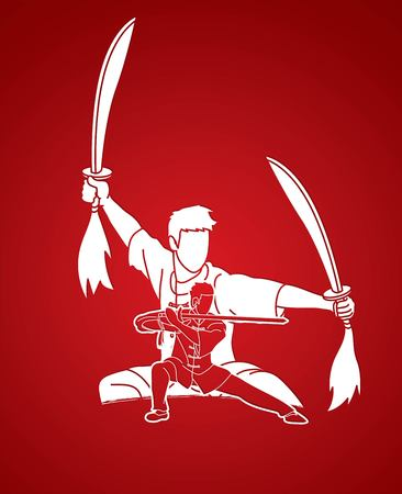 Kung Fu fighter, Martial arts with swords action pose cartoon graphic vector.