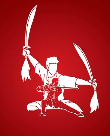 Luchador de Kung Fu, artes marciales con acción de espadas plantean vector gráfico de dibujos animados.