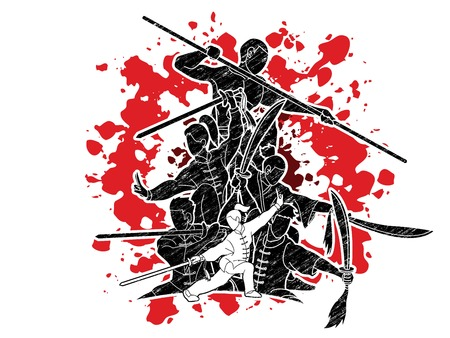 Group of People Kung Fu fighter, Martial arts with weapons action cartoon graphic vector. Vektorové ilustrace