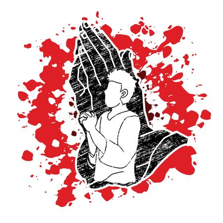 Man prayer, Praise to the Lord, Double exposure graphic vector Ilustrace