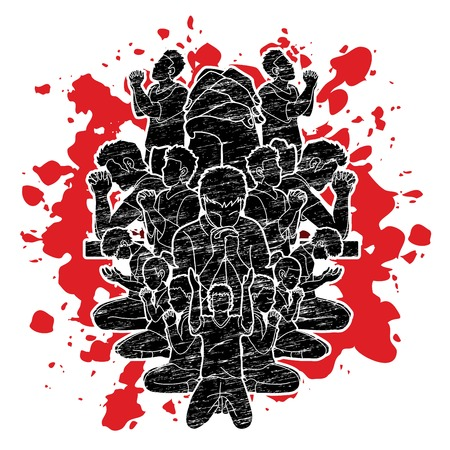 Group of people prayer, Praise to the Lord Double exposure graphic vector