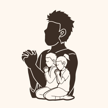 Little boy and girl prayer, Praise to the Lord, Double exposure graphic vector