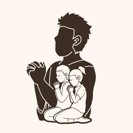Oración de niño y niña, alabanza al Señor, vector gráfico de doble exposición