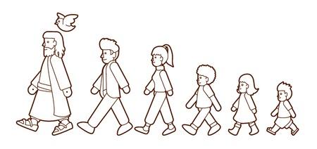 Gehen Sie mit Jesus, folgen Sie Jesus Cartoon-Grafik-Vektor.