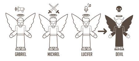 Vecteur graphique de dessin animé anges de Dieu