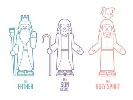 Vecteur graphique de dessin animé Dieu Père Fils Saint-Esprit Vecteurs